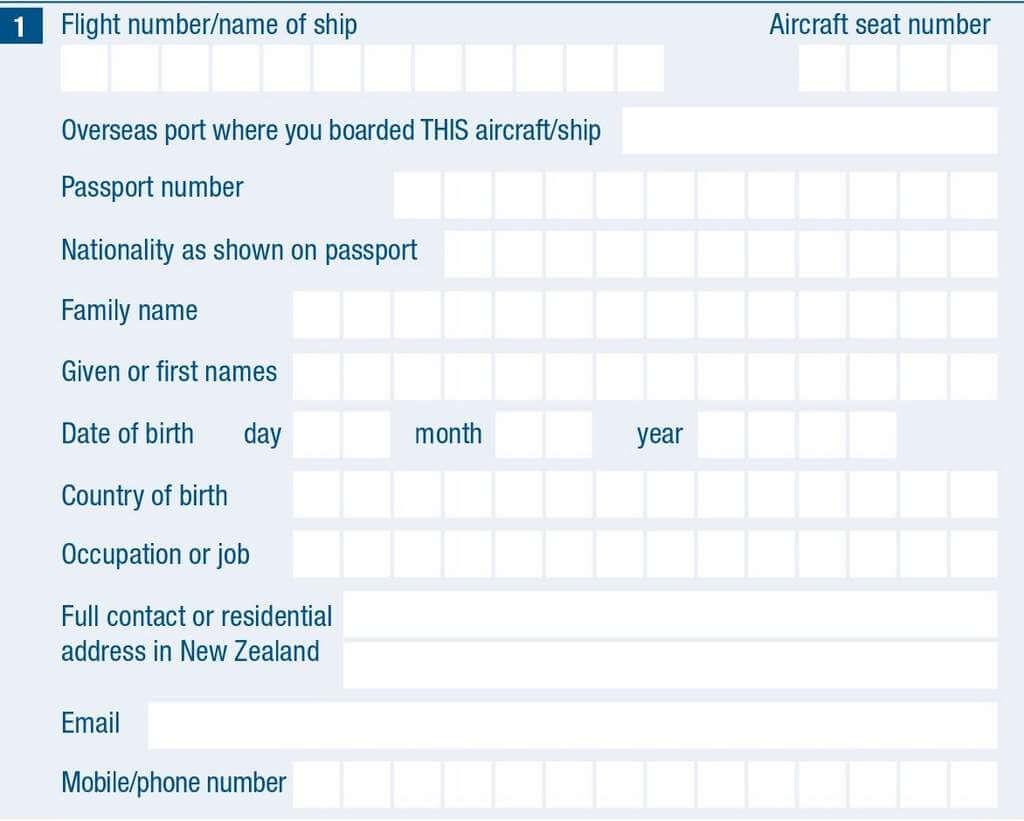 奧克蘭 入境卡