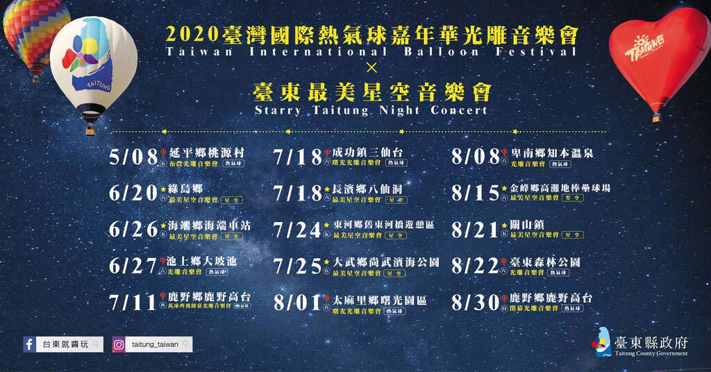 2020熱氣球光雕及星空音樂會場次表